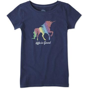 Life is Good Girls Rainbow Unicorn Crusher Short-Sleeve T-Shirt