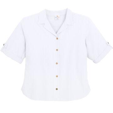 Sea Breeze Womens Garment-Dyed Tab Short-Sleeve Top