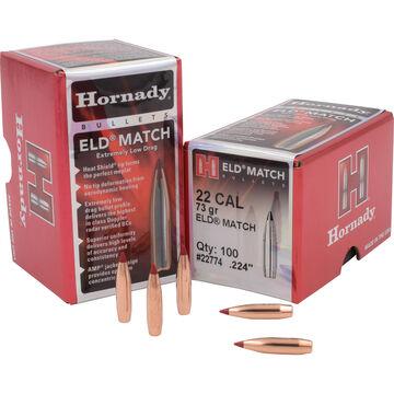 """Hornady ELD-Match 22 Cal. 73 Grain .224"""" Heat Shield Tip BT Bullet (100)"""