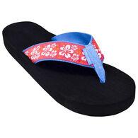 Tidewater Sandals Women's Pink Hibiscus Flip Flop Sandal