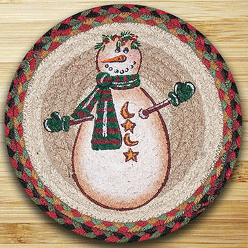 "Capitol Earth Moon & Star Snowman 10"" Round Braided Rug"