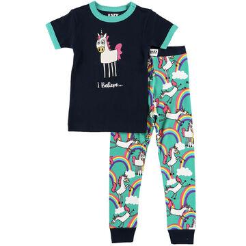 Lazy One Girls I Believe Unicorn Pajama Set
