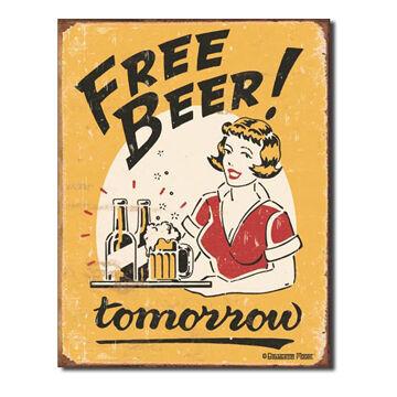 Desperate Enterprises Free Beer Tin Sign