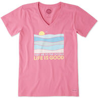 Life is Good Women's Take Me To The Ocean Crusher Vee Short-Sleeve T-Shirt
