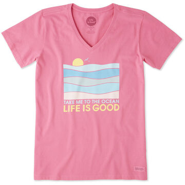 Life is Good Womens Take Me To The Ocean Crusher Vee Short-Sleeve T-Shirt
