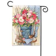 BreezeArt Bucket Full of Peonies Garden Flag