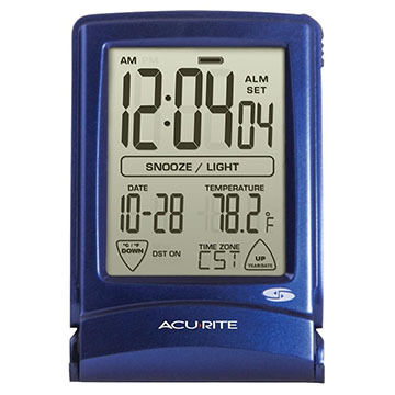AcuRite Set & Forget Digital Travel Alarm Clock w/ Touchscreen