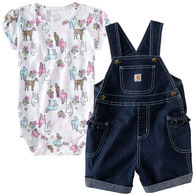 Carhartt Infant/Toddler Girls' Denim Shortall Set, 2pc