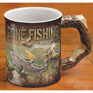 Wild Wings Gone Fishing Sculpted Coffee Mug
