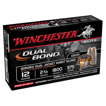 "Winchester Dual Bond 12 GA 2-3/4"" 375 Grain HP Sabot Slug Ammo (5)"