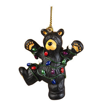 Big Sky Carvers Hap Wrapped In Lights Ornament