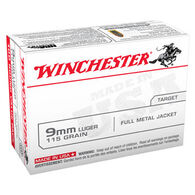 Winchester USA 9mm Luger 115 Grain FMJ Handgun Ammo (100)