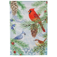 Evergreen Winter Pines Satin Garden Flag