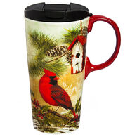 Evergreen Rustic Garden Holly Ceramic Travel Cup w/ Lid