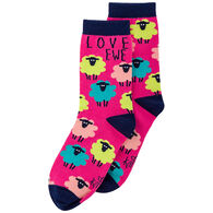Karma Women's Love Ewe Sheep Crew Sock