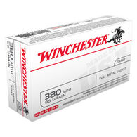 Winchester USA 380 Automatic 95 Grain FMJ Handgun Ammo (50)