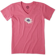 Life is Good Women's Beautiful Daisy Crusher Vee Short-Sleeve T-Shirt