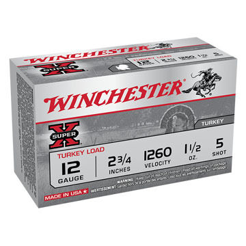 "Winchester Super-X Turkey Load 12 GA 2-3/4"" 1-1/2 oz. #5 Shotshell Ammo (10)"