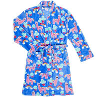 Candy Pink Girl's Llama Fleece Robe