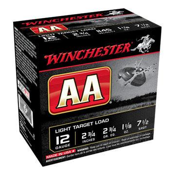 "Winchester AA Target 12 GA 2-3/4"" 1-1/8 oz. #7-1/2 Dram 2-3/4 Shotshell Ammo (25)"