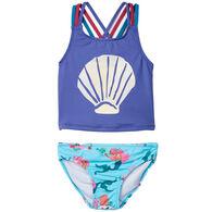 Hatley Girl's Mermaid Tales Sporty Tankini Set