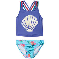 Hatley Toddler Girl's Mermaid Tales Sporty Tankini Set