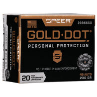 Speer Gold Dot Personal Protection 45 Auto 230 Grain HP Handgun Ammo (20)