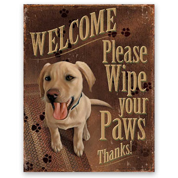 Wild Wings Welcome Please Wipe Your Paws Tin Sign