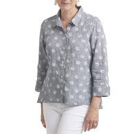 Habitat Women's Cross Dye Dot High/Low 3/4-Sleeve Shirt