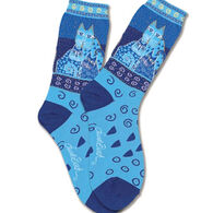 K. Bell Women's Blue Felines Sock