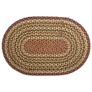 Capitol Earth Oval Olive/Burgundy/Gray Braided Rug