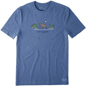 Life is Good Mens Majestic Moose Vintage Crusher Short-Sleeve T-Shirt