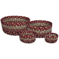 Capitol Earth Burgundy/Gray/Cream Braided Table Basket Set