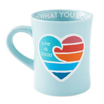Life is Good Wave Heart Diner Mug