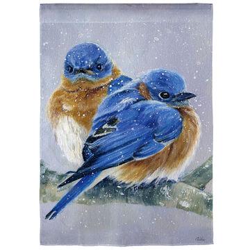 Evergreen Bluebird Couple Satin Garden Flag