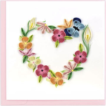 Quilling Card Floral Heart Wreath Greeting Card