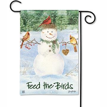 BreezeArt Snowman Birdfeeder Garden Flag