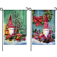 Evergreen Christmas Gnomes Garden Flag