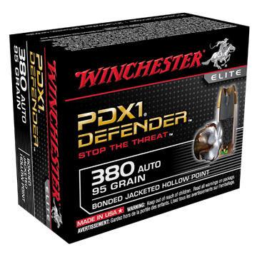 Winchester PDX1 Defender 380 Auto 95 Grain Bonded JHP Handgun Ammo (20)