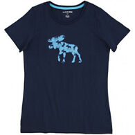 Hatley Women's Blue Moose Short-Sleeve Sleep T-Shirt