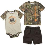 Carhartt Infant Boy's Ticking Stripe Shortall Set, 2-Piece