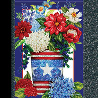 Carson Home Accents Glittertrends Patriotic Flowers Garden Flag
