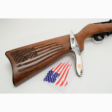 Ruger 10/22 Distressed Flag 22 LR 18.5 Rifle & Knife Patriot Package - KTP Exclusive