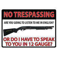 Rivers Edge No Trespassing Shotgun Embossed Tin Sign