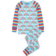 Hatley Toddler Girl's Magical Rainbows Organic Cotton Raglan PJ Set