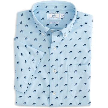 Southern Tide Mens Dolphin Print Intercoastal Performance Short-Sleeve Sport Shirt