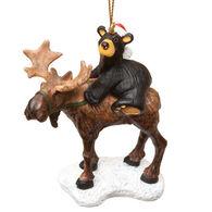 Big Sky Carvers Bear Riding Moose Ornament