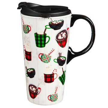 Evergreen Holiday Drinks Ceramic Travel Cup w/ Lid