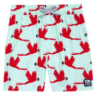 Tom & Teddy Boy's Light Blue & Pink Parrots Boardshort