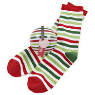 Hatley Little Blue House Women's Holiday Christmas Stripe Crew Sock and Tree Ornament